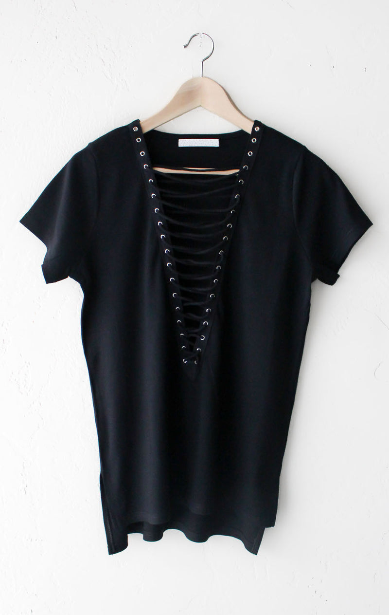 Ribbed Knit Lace Up Deep V-neck Top - Black