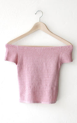 NYCT Clothing Smocked Off Shoulder Crop Top