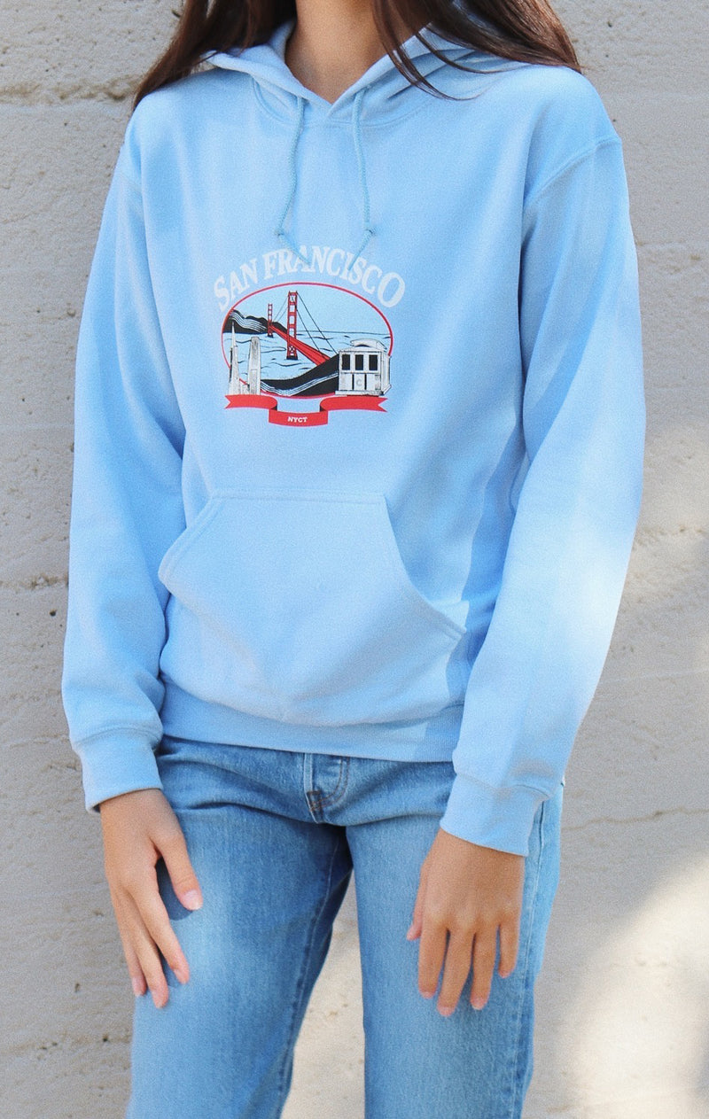 NYCT Clothing San Francisco Hoodie - Light Blue