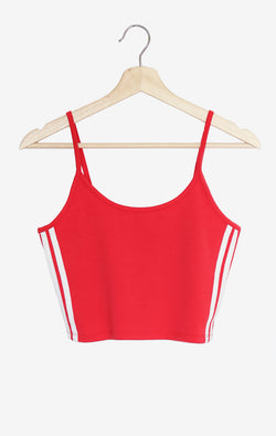 NYCT Clothing Side Striped Crop Cami - Red