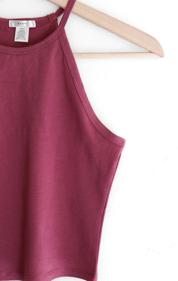 NYCT Clothing Sleeveless Crop Top - Mauve