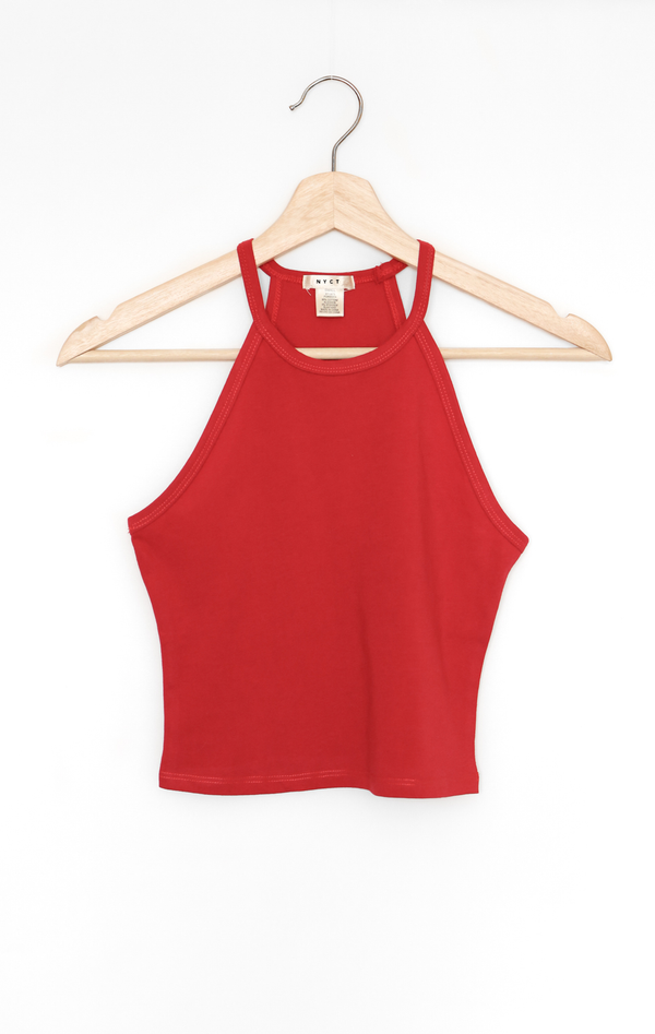 NYCT Clothing Sleeveless Crop Top - Dark Red