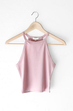 NYCT Clothing Sleeveless Crop Top - Dusty Mauve