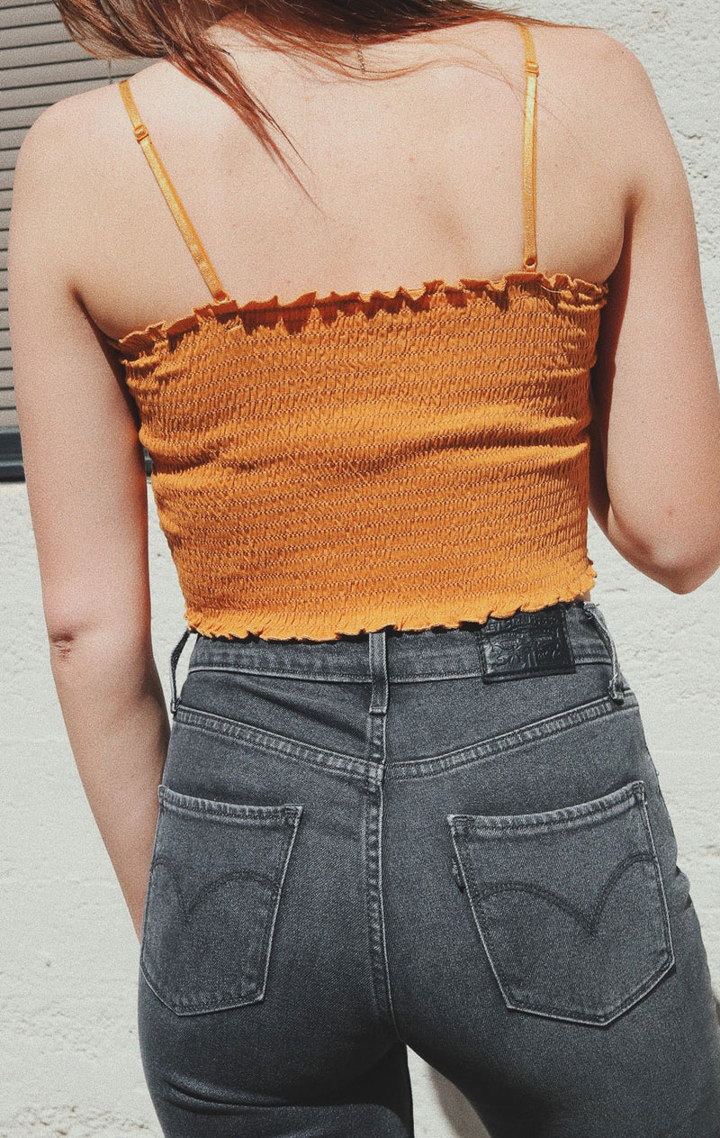 NYCT Clothing Smocked Cami Crop Top