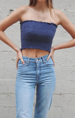 NYCT Clothing Smocked Tube Top - Ash Navy