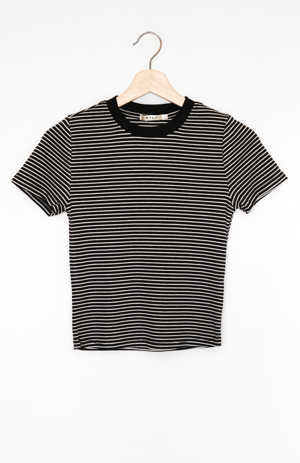 NYCT Clothing Striped Crop Ringer Tee
