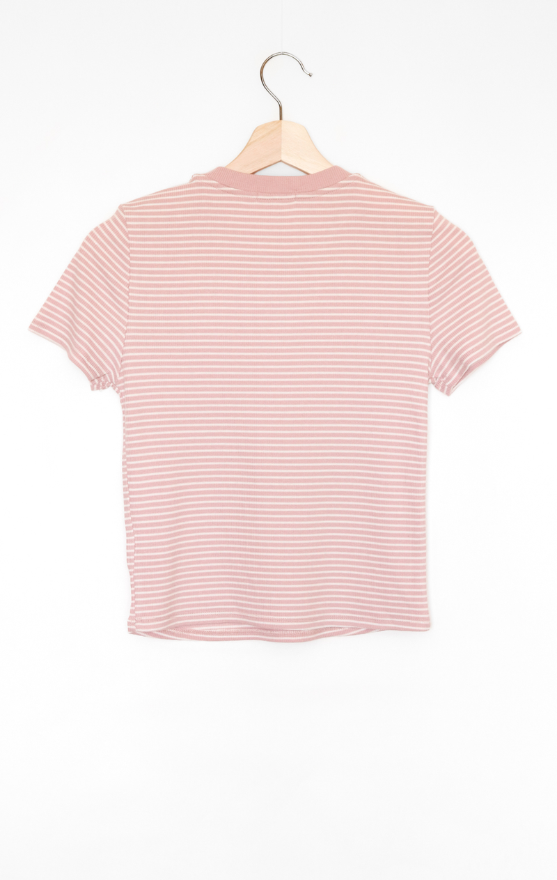 NYCT Clothing Striped Crop Ringer Tee - Dusty Mauve