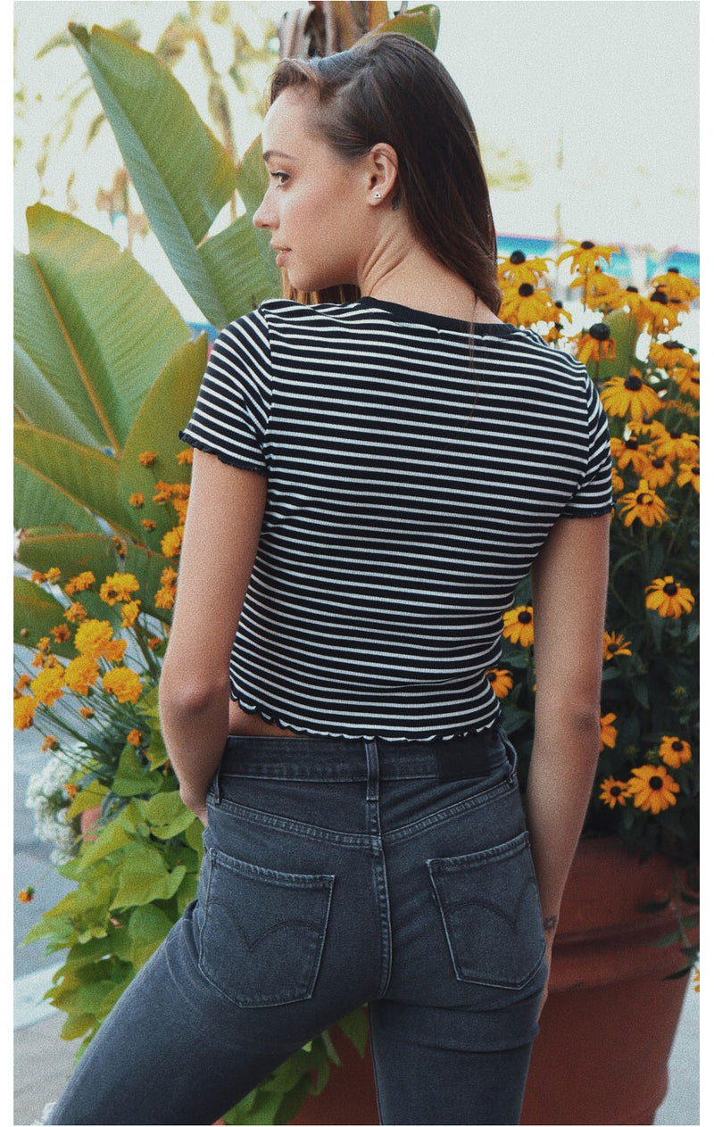 NYCT Clothing Striped Cropped Ringer Tee