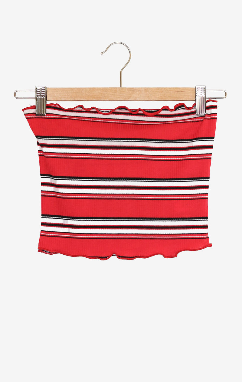 NYCT Clothing Striped Tube Top - Red