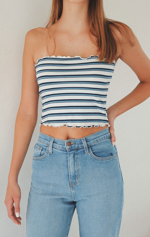 NYCT Clothing Striped Tube Top - Dusty Blue
