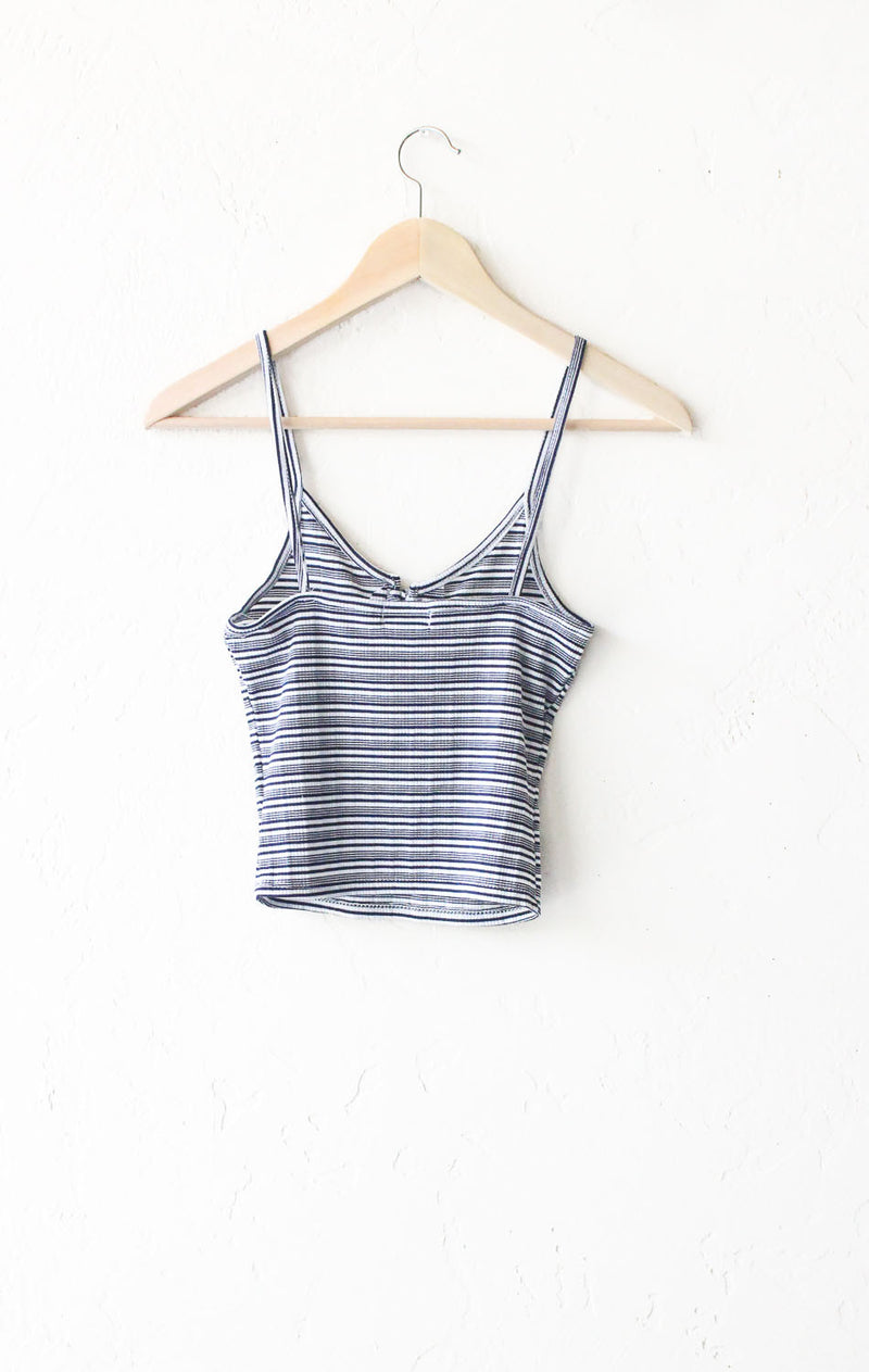 Striped Lace up Crop Top - Navy