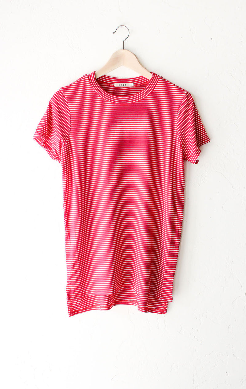 Striped Oversized Shirt - Red