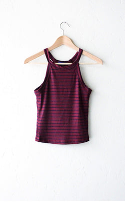 88ff3a57325cca Striped Ribbed Crop Top - Burgundy – NYCT CLOTHING