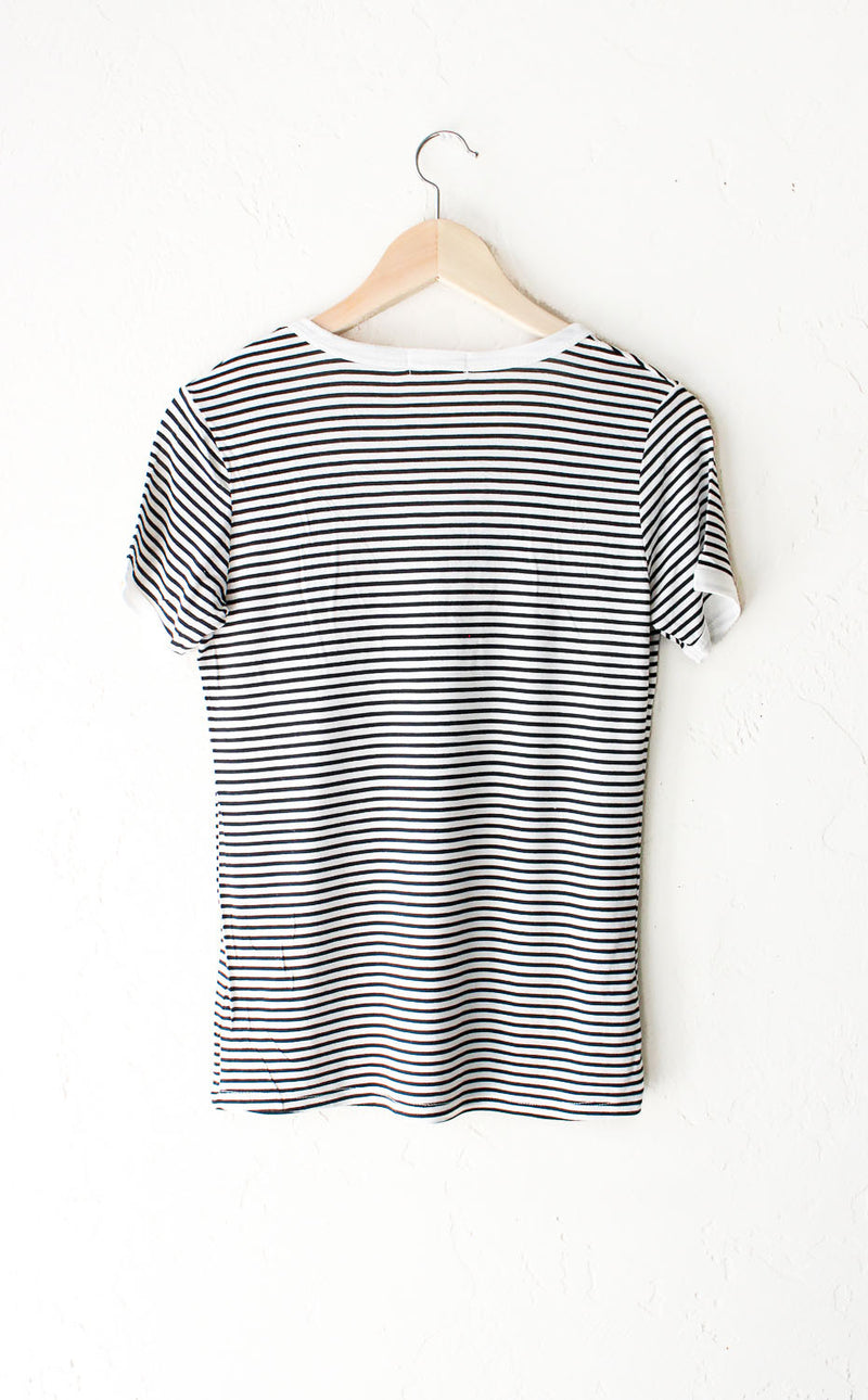 Striped Ringer Tee - White/Black