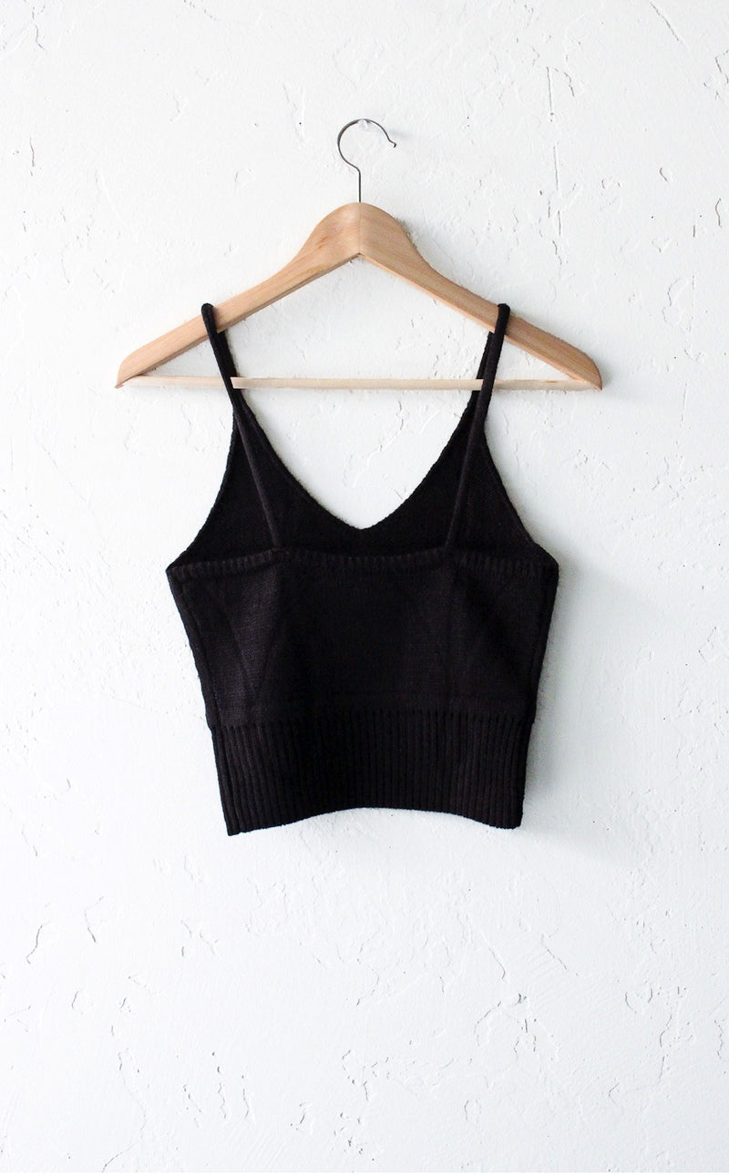 Sweater Knit Crop Top - Black