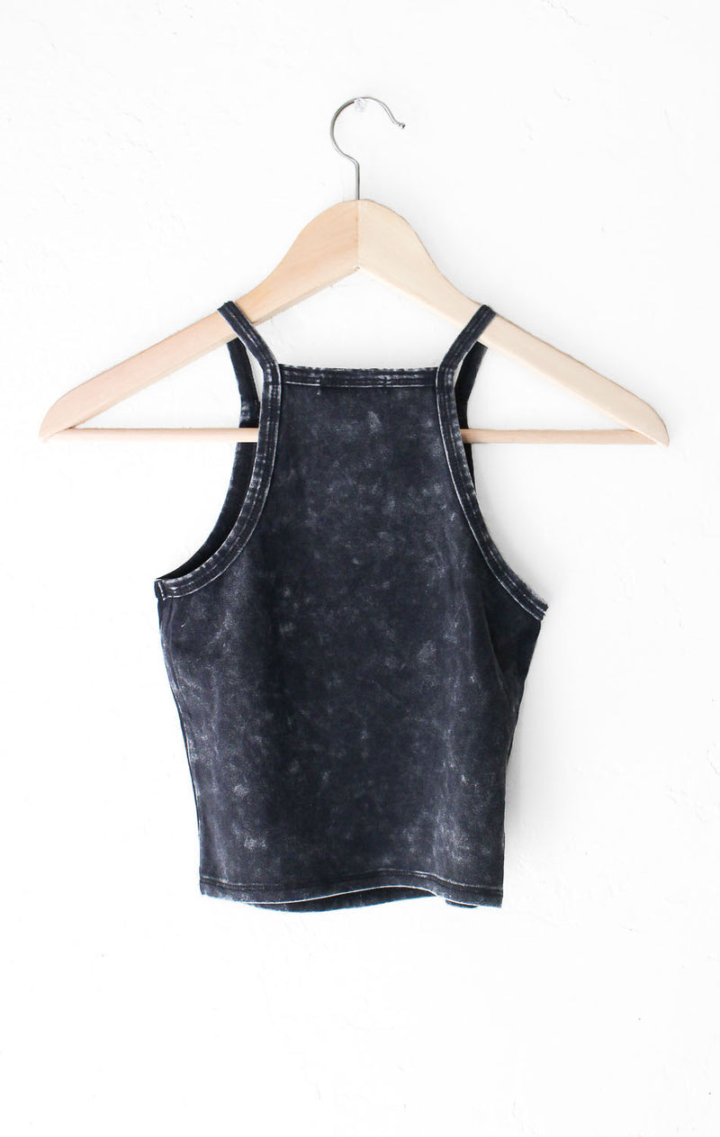 NYCT Clothing Tie Dyed Crop Top - Black