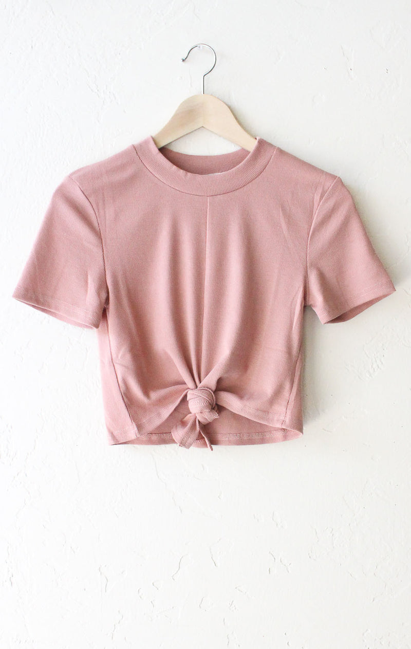 Tie Front Crop Top - Rose