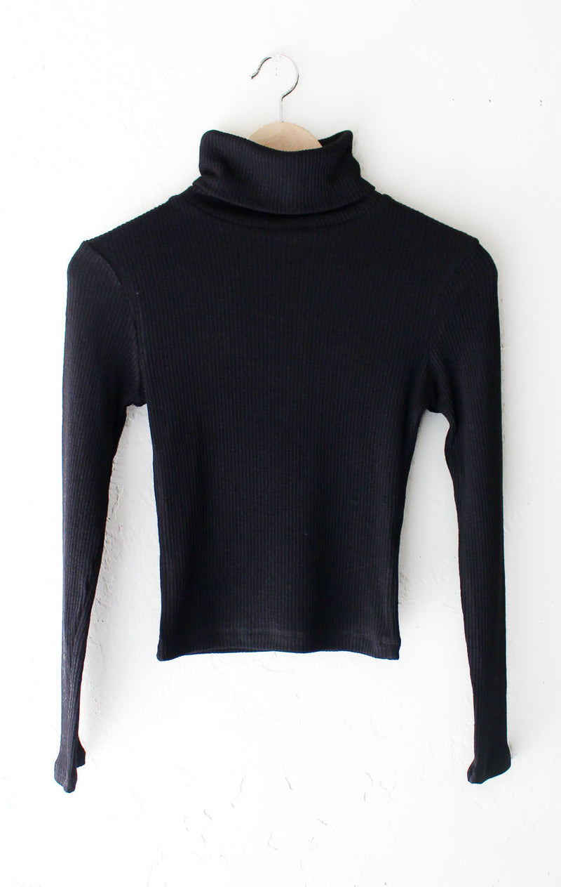 NYCT Clothing Ribbed Knit Turtleneck Crop Top - Black