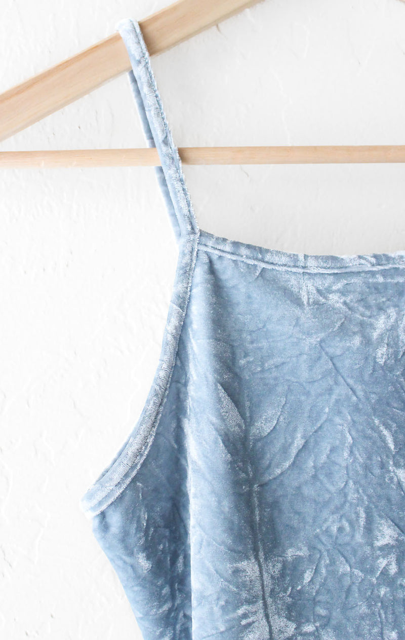 NYCT Clothing Velvet Cami Crop Top - Dusty Blue