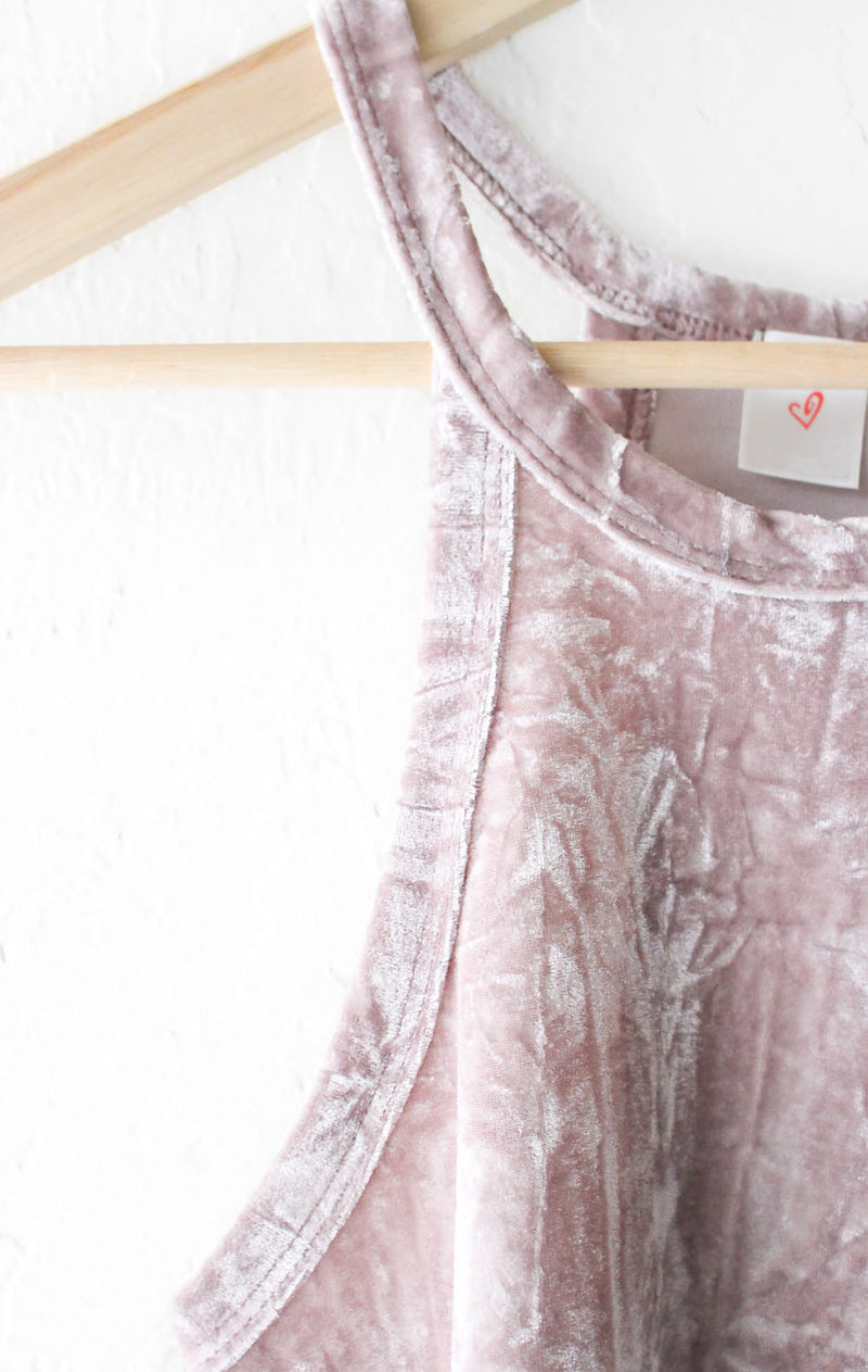 NYCT Clothing Velvet Crop Top - Dusty Rose