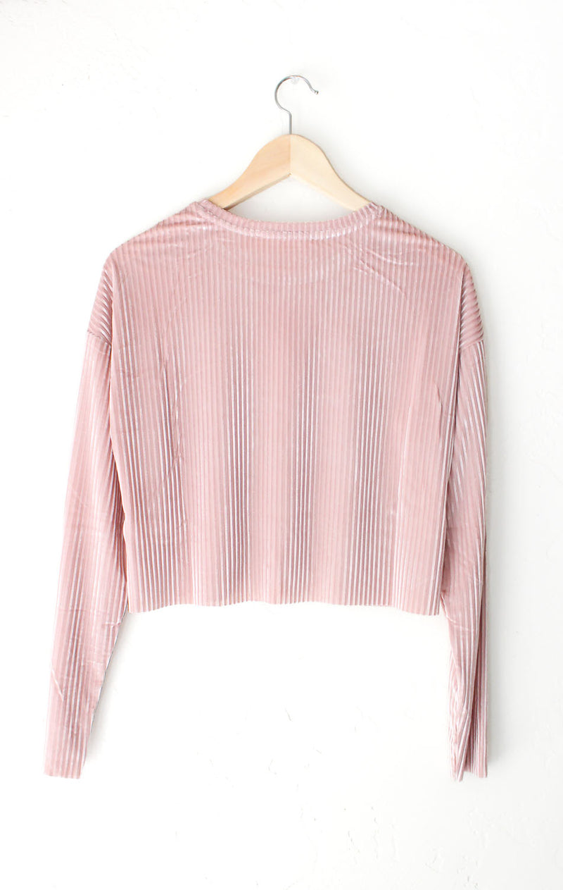 NYCT Clothing Long Sleeve Velvet Crop Top