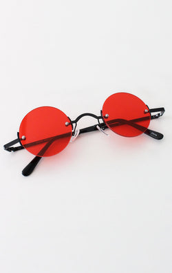 NYCT Clothing Vintage Inspired Round Sunglasses - Red