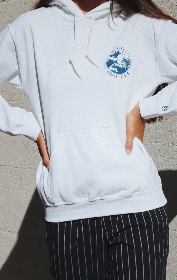 NYCT Clothing Waikiki Hawaii Hoodie White