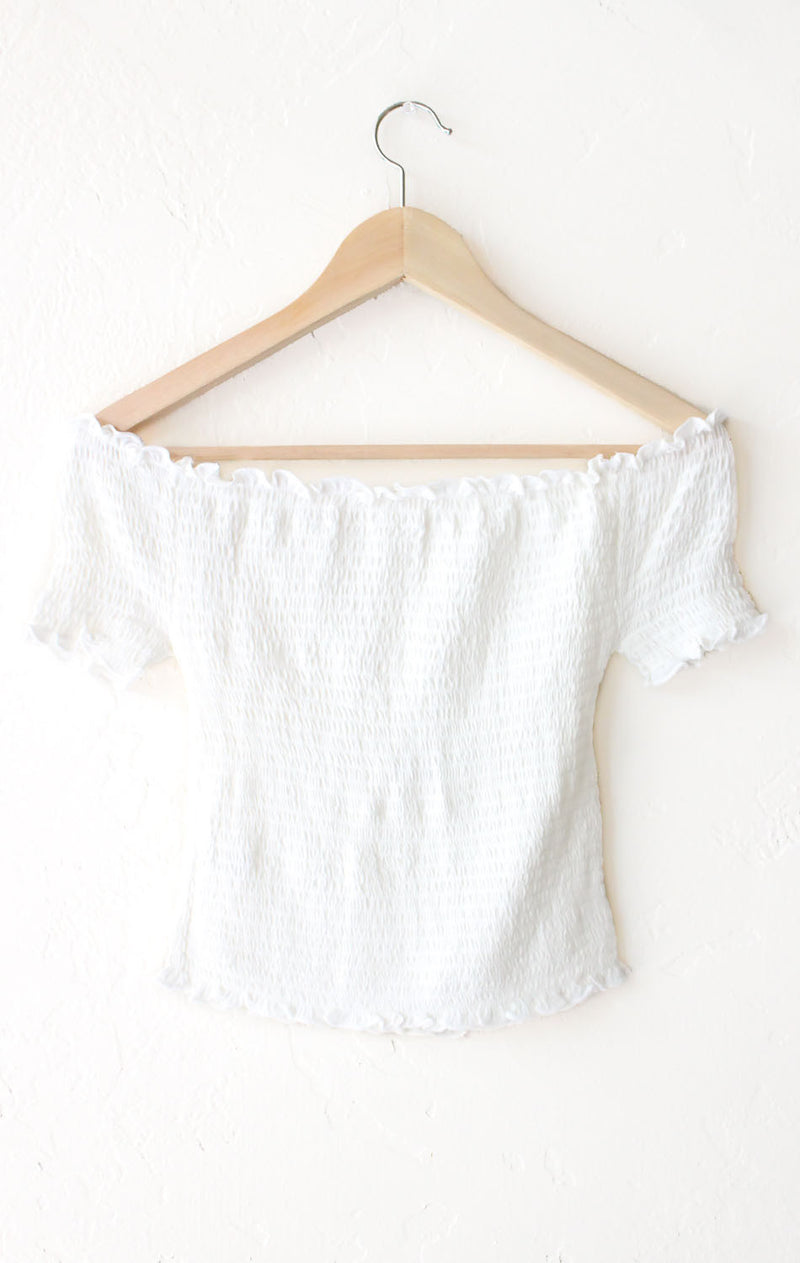 NYCT Clothing Smocked Off Shoulder Crop Top - White