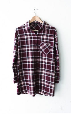 Oversized Plaid Flannel Shirt