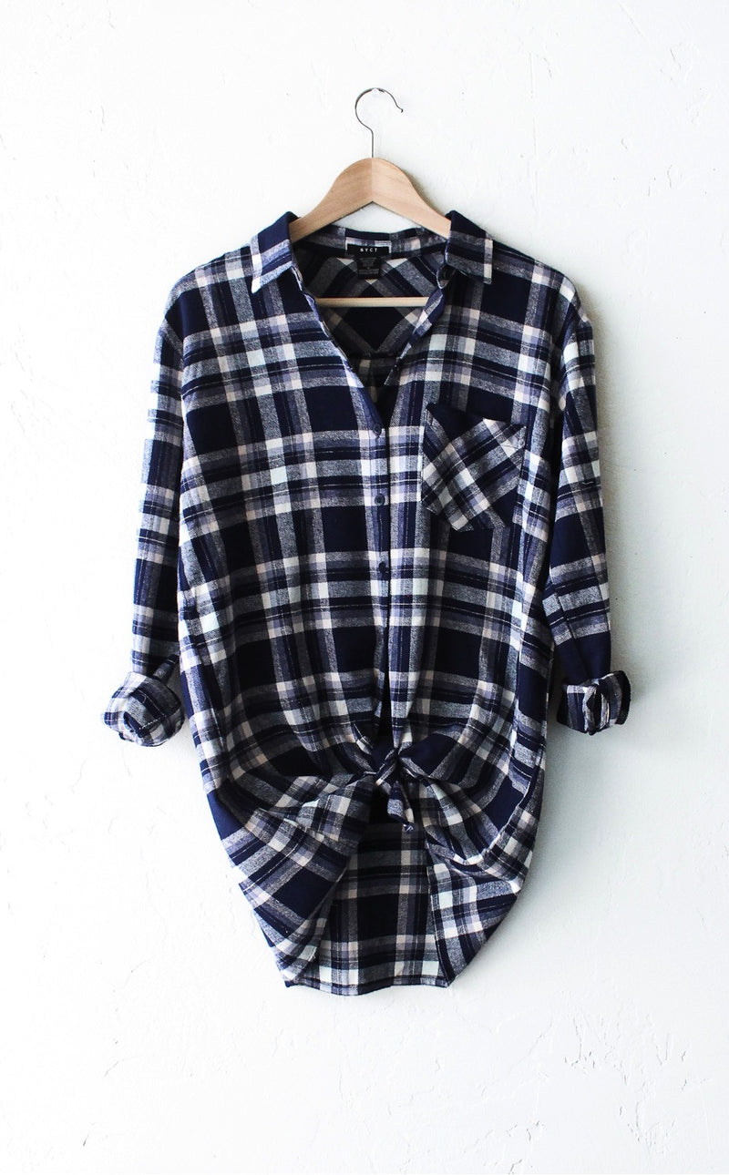 Oversized Plaid Flannel Shirt - Blue