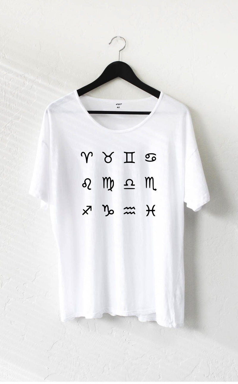 What's Your Zodiac Sign Oversized Tee - White