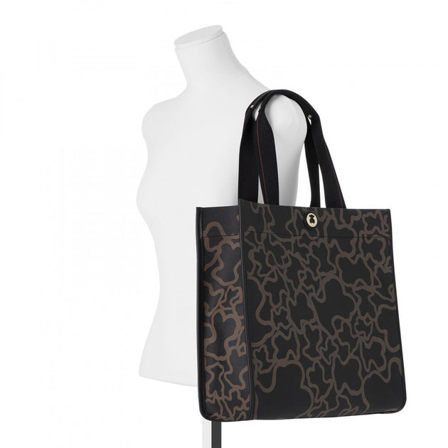 Black-camel colored Canvas Kaos Shopping bag, TOUS, Handbags