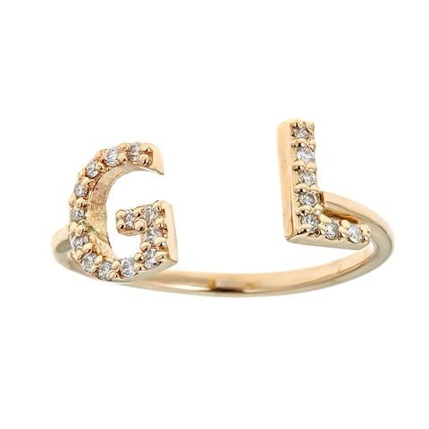 14K 2 Initial Ring With Diamonds Maya J R3645