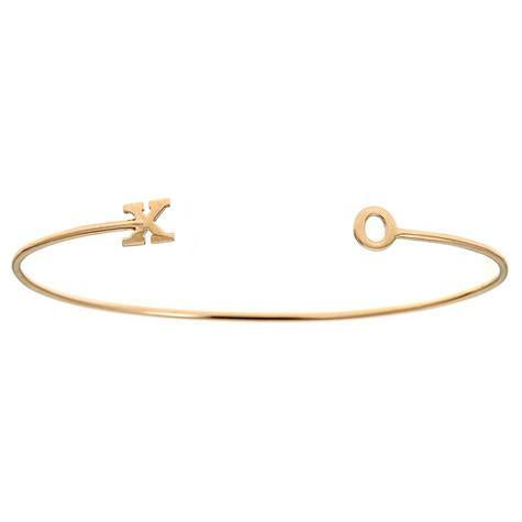 14K Bangle Small Letters On Ends Maya J BA113