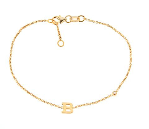14K Bracelet Mini Uppercase Letter With .01 CT Diamond On Chain Maya J BM113D