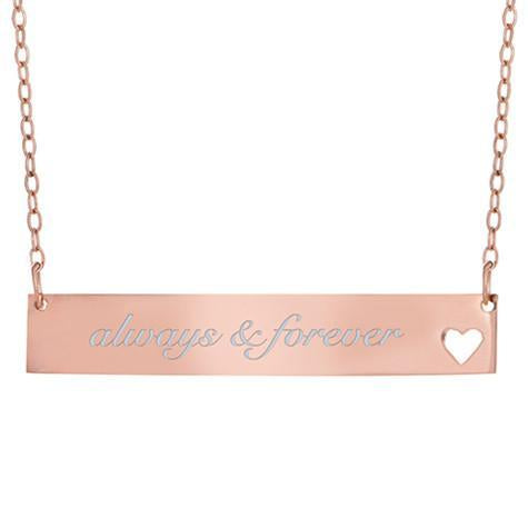 14K Engravable Bar Pendant With Cut Out Heart In The Lower Right On Chain Maya J MG5002H