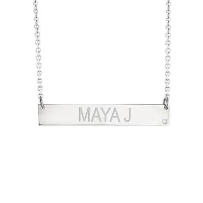 14K Engravable Bar Pendant With Diamond Maya J MG5002