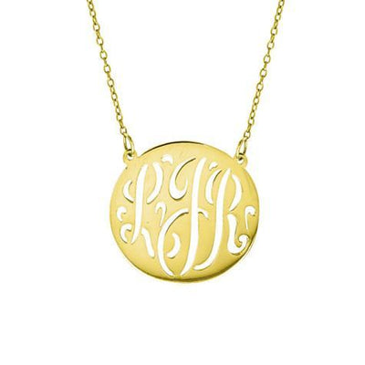 14K Large Monogram Script Cut Out Disc Pendant With Chain Maya J MG733