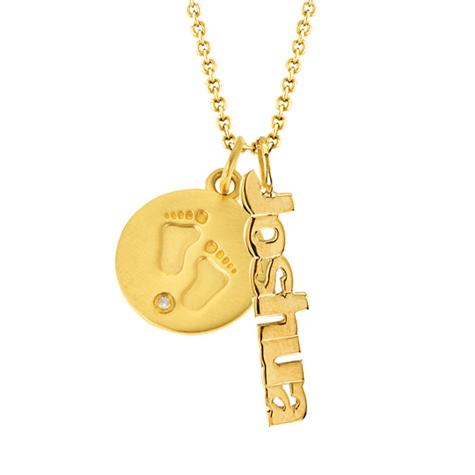 14K Layer - P1505 Baby Feet Disc - Vertical Name