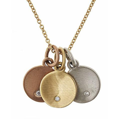 14K Layer Pendant - Set of 3 Mini Discs With Letter Engraved - P3608 Maya J PL113