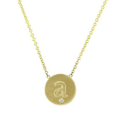 14K Pendant .005 CT Diamond Initial Disc With Chain Maya J PC1427