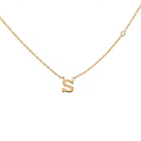 14K Pendant Mini Uppercase Letter With .01 CT Diamond On Chain Maya J PC113D