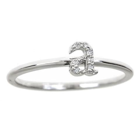 14K Single Initial Ring With Diamonds Maya J R2625