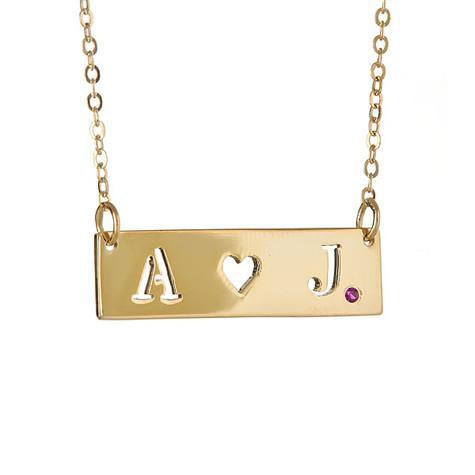 14K Small Initials Heart In Middle Cut Out With Ruby Pendant On Chain Maya J MG500HR