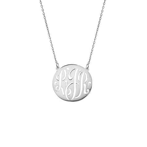 14K Small Monogram Script Cut Out Disc Pendant With Chain Maya J MG756