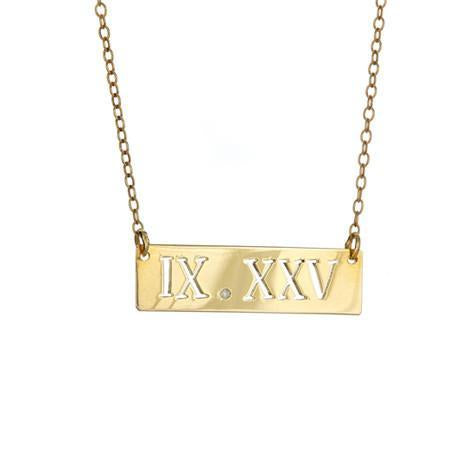14K Small Roman Numeral Date Cut Out Pendant With Diamond On Chain Maya J MG4998