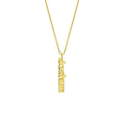 14K Vertical Block Name Pendant Maya J MG5003