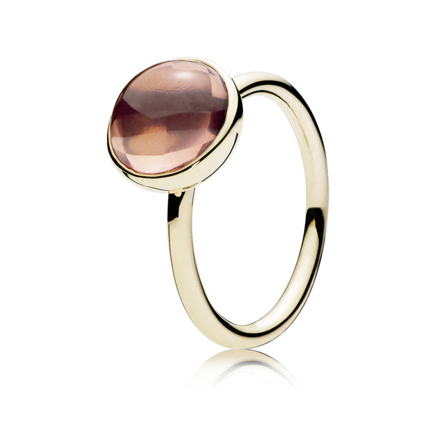 Ring Poetic Droplet in 14K Gold with Blush Pink Crystal