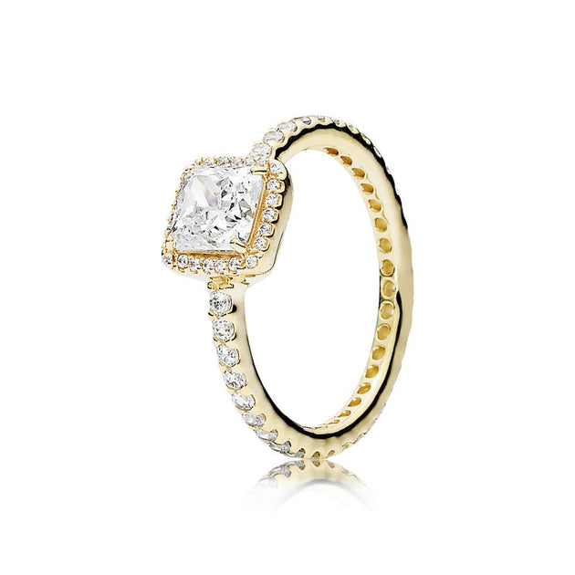 Ring Timeless Elegance in 14K Gold with Clear CZ