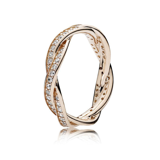 PANDORA Rose Ring Twist of Fate with Clear Cubic Zirconia